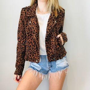 Blank NYC cheetah print corduroy Moto jacket